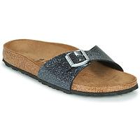 Schoenen Dames Leren slippers Birkenstock MADRID Zwart / Zilver