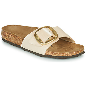 Schoenen Dames Leren slippers Birkenstock MADRID BIG BUCKLE Pearl / Wit