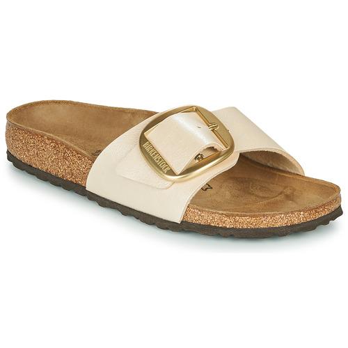 Schoenen Dames Leren slippers Birkenstock MADRID BIG BUCKLE Pearl / Wit