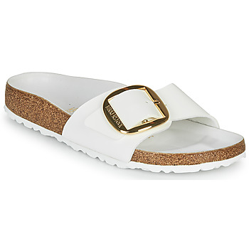 Schoenen Dames Leren slippers Birkenstock MADRID BIG BUCKLE Wit / Lak