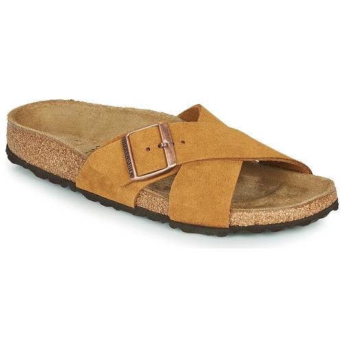 Schoenen Dames Leren slippers Birkenstock SIENA LEATHER Camel