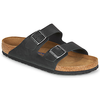 Schoenen Heren Leren slippers Birkenstock ARIZONA SFB LEATHER Zwart