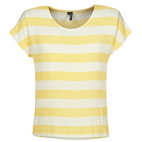 Textiel Dames T-shirts korte mouwen Vero Moda  Geel / Wit