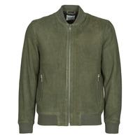 Textiel Heren Leren jas / kunstleren jas Selected SLHB01 Kaki