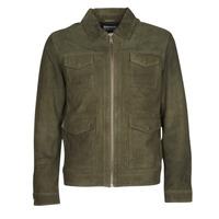 Textiel Heren Leren jas / kunstleren jas Selected SLHRALF Kaki
