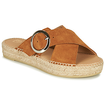 Schoenen Dames Leren slippers Betty London MARIZETTE Cognac