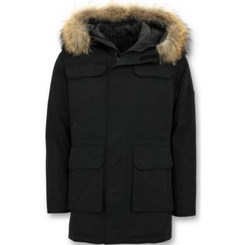 Textiel Heren Parka jassen Enos Parka Winterjas Grote Echte Bontkraag Zwart