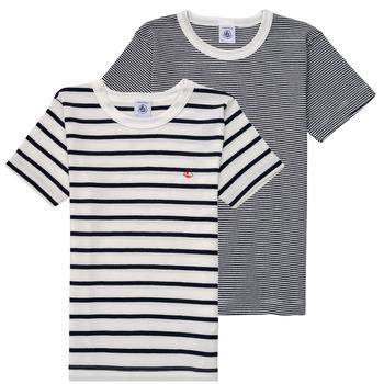 Textiel Jongens T-shirts korte mouwen Petit Bateau 53333 Wit / Blauw