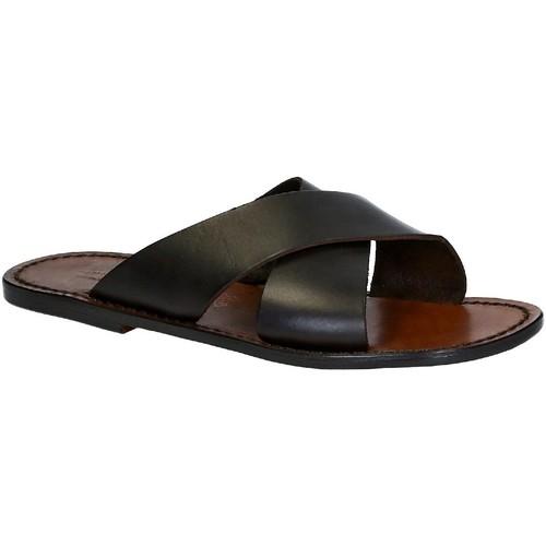Schoenen Heren Leren slippers Gianluca - L'artigiano Del Cuoio 560 U MORO CUOIO Testa di Moro