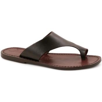 Schoenen Heren Leren slippers Gianluca - L'artigiano Del Cuoio 521 D MORO CUOIO Testa di Moro