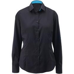 Textiel Dames Overhemden Alexandra AX060 Zwart / pauw