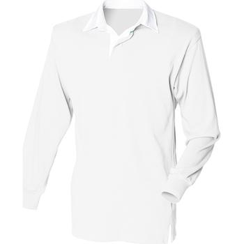 Textiel Heren Polo's lange mouwen Front Row FR100 Wit/Wit