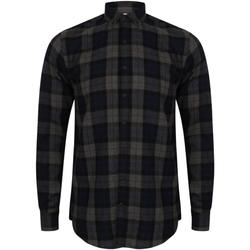 Textiel Heren Overhemden lange mouwen Skinni Fit Check Navy Check