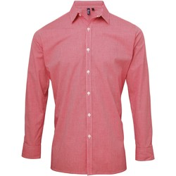 Textiel Heren Overhemden lange mouwen Premier Microcheck Rood/Wit