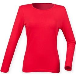 Textiel Dames T-shirts met lange mouwen Skinni Fit SK124 Helder rood