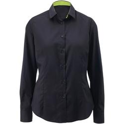 Textiel Dames Overhemden Alexandra AX060 Zwart/Kalk