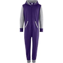 Textiel Kinderen Jumpsuites / Tuinbroeken Comfy Co CC03J Paars/Heather Grey