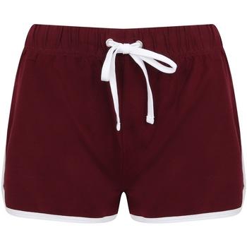 Textiel Dames Korte broeken / Bermuda's Skinni Fit SK069 Bourgogne/Wit