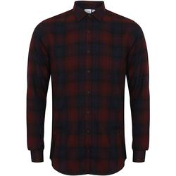 Textiel Heren Overhemden lange mouwen Skinni Fit Check Bourgondische check