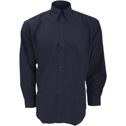 Textiel Heren Overhemden lange mouwen Kustom Kit KK351 Franse marine
