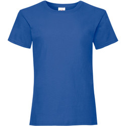 Textiel Meisjes T-shirts korte mouwen Fruit Of The Loom Valueweight Royaal Blauw