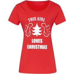 Textiel Dames T-shirts korte mouwen Christmas Shop CJ212 Rood