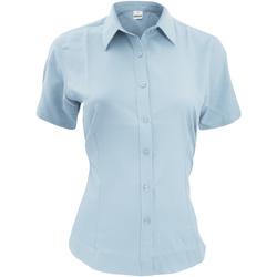 Textiel Heren Overhemden korte mouwen Henbury HB596 Lichtblauw