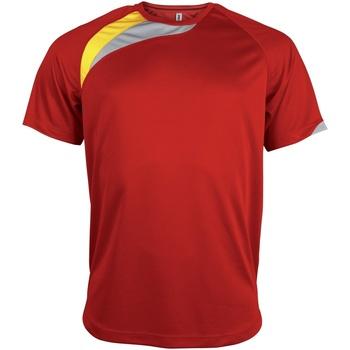 Textiel Heren T-shirts korte mouwen Kariban Proact PA436 Rood/ Zwart/ Stormgrijs