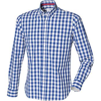 Textiel Heren Overhemden lange mouwen Front Row FR500 Blauwe ruit