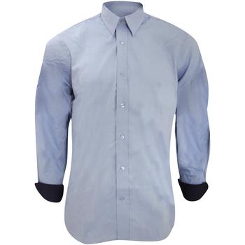 Textiel Heren Overhemden lange mouwen Kustom Kit KK189 Lichtblauw/Zwaar