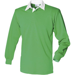 Textiel Heren Polo's lange mouwen Front Row FR100 Helder groen/wit