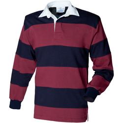 Textiel Heren Polo's lange mouwen Front Row FR08M Bourgogne/Navy