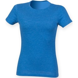 Textiel Dames T-shirts korte mouwen Skinni Fit SK161 Blauwe Triblend