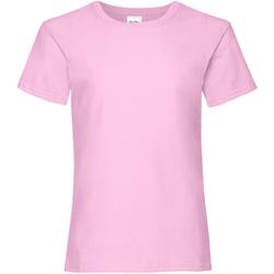 Textiel Meisjes T-shirts korte mouwen Fruit Of The Loom Valueweight Licht Rose