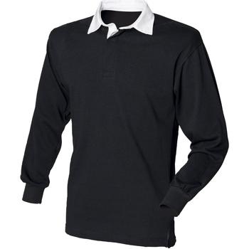 Textiel Heren Polo's lange mouwen Front Row FR100 Zwart/Wit