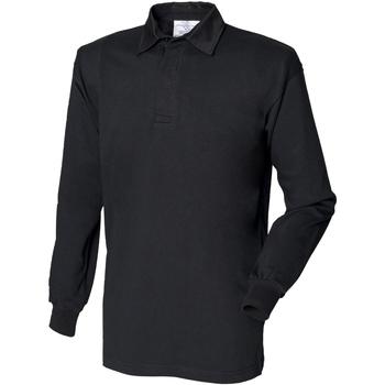 Textiel Heren Polo's lange mouwen Front Row FR100 Zwart/Zwart