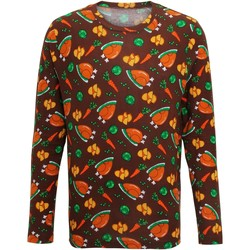 Textiel Heren T-shirts met lange mouwen Christmas Shop CS002 Bruin