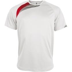 Textiel Heren T-shirts korte mouwen Kariban Proact PA436 Wit/ Rood/ Stormgrijs