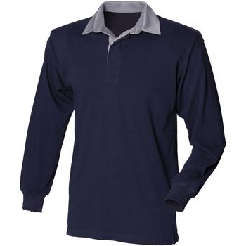 Textiel Heren Polo's lange mouwen Front Row Rugby Navy/Slate kraag
