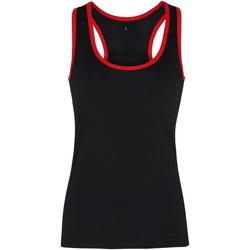 Textiel Dames Mouwloze tops Tridri TR023 Zwart / Rood