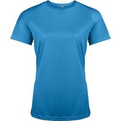 Textiel Dames T-shirts korte mouwen Kariban Proact PA439 Aqua Blauw