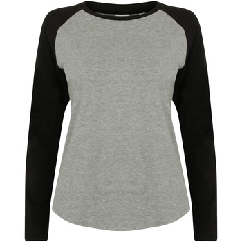 Textiel Dames T-shirts met lange mouwen Skinni Fit SK271 Heide Grijs / Zwart