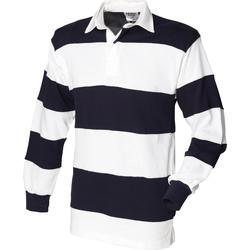 Textiel Heren Polo's lange mouwen Front Row FR08M Wit & Navy (Witte kraag)