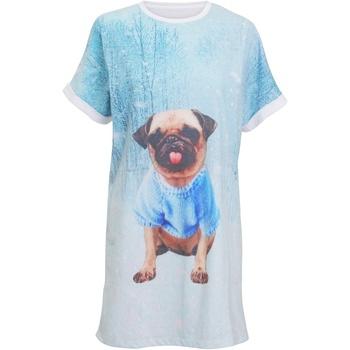 Textiel Dames Pyjama's / nachthemden Christmas Shop CS043 Lichtblauwe mopshond