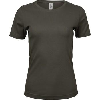 Textiel Dames T-shirts korte mouwen Tee Jays Interlock Donkere Olijf