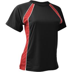 Textiel Dames T-shirts korte mouwen Finden & Hales LV251 Zwart/Rood/Wit
