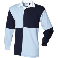 Textiel Heren Polo's lange mouwen Front Row FR02M Navy/Sky (Witte kraag)
