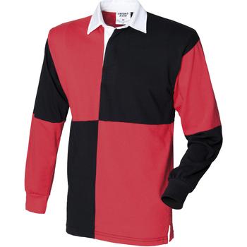 Textiel Heren Polo's lange mouwen Front Row FR02M Zwart/Rood (Witte kraag)