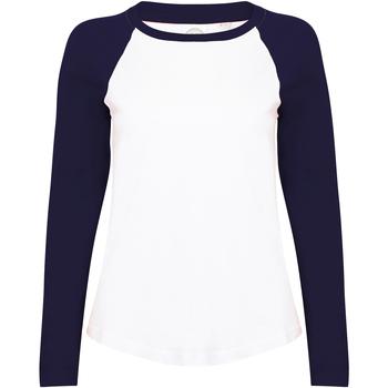 Textiel Dames T-shirts met lange mouwen Skinni Fit SK271 Wit / Oxford Navy