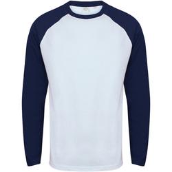 Textiel Heren T-shirts met lange mouwen Skinni Fit SF271 Wit / Oxford Navy